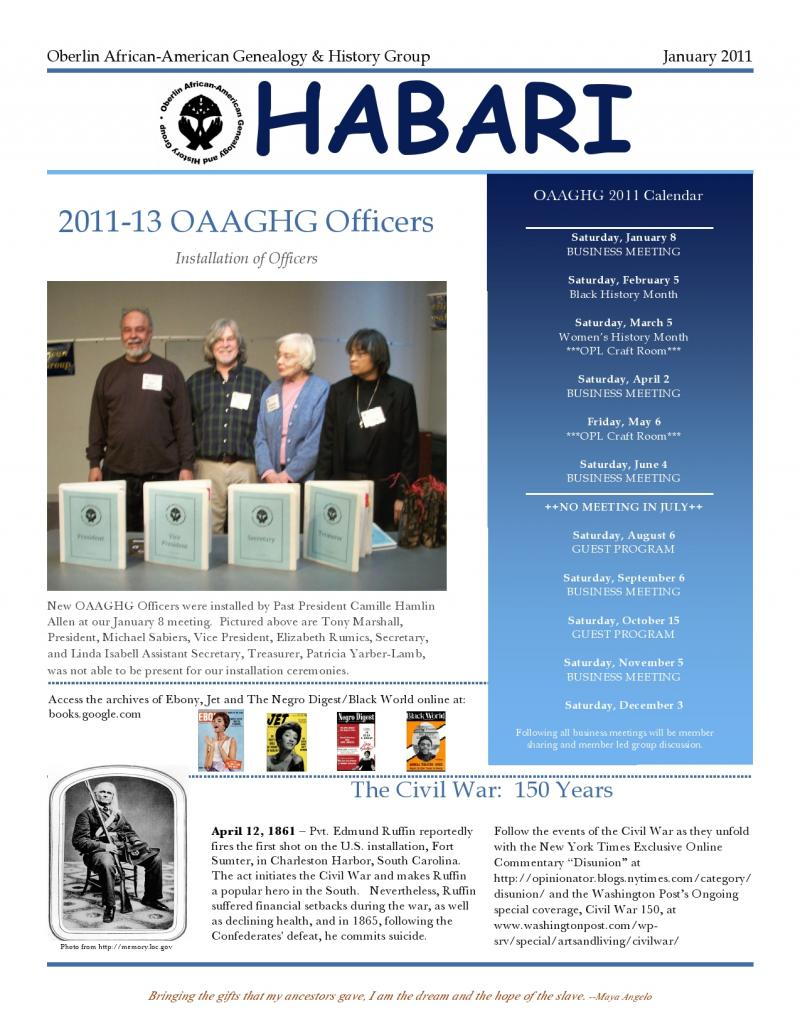 Oberlin African-American Genealogy & History Group - HABARI